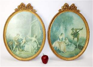 Pair of Louis XVI style carved oval frames