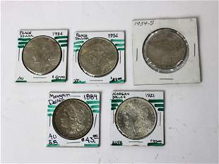 Lot of 5 Peace and Morgan silver dollars