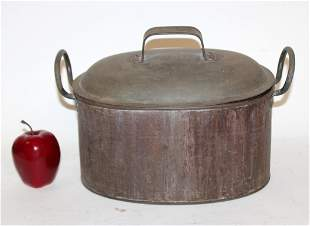 Antique French oval lidded copper pot