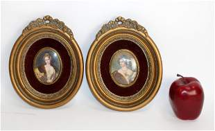 Pair of Louis XVI style small oval portrait plaques