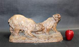 French terra cotta sculpture of bears