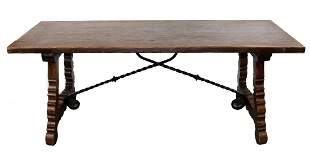 Spanish trestle table with iron stretcher