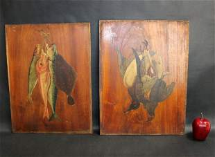 2 oil on board trophy plaque painted panels