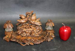 French Black Forest carved walnut inkwell with birds