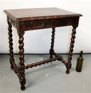 French Louis XIII oak bureauplat desk with barley twist
