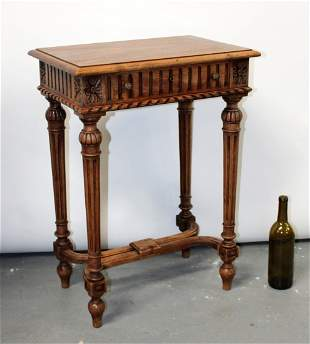 French neo-classical walnut side table