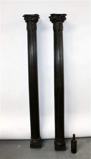 Pair French carved oak fluted columns with capitals
