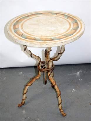 Italian wrought iron base gueridon table by Patina
