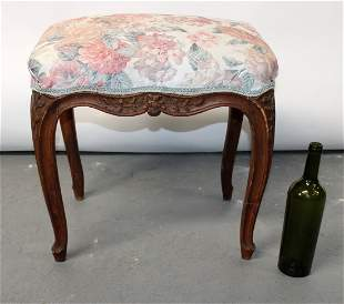 French Louis XV style carved walnut stool