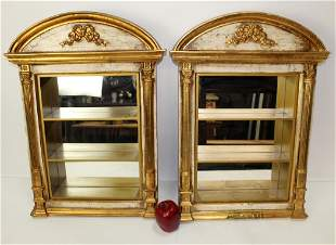 Pair of Neoclassical style wall mount display cabinets