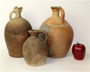 Lot of 3 French terracotta pots