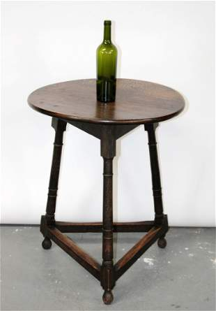 French Provincial round oak side table
