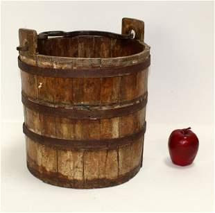 Antique wood & iron well bucket