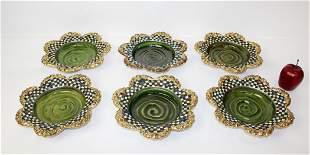 6 vintage MacKenzie Childs glazed terra cotta bowls