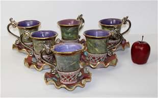 6 vintage Mackenzie Childs cups & saucers