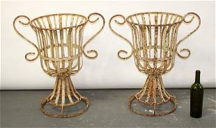 Pair iron urn form double handled planters