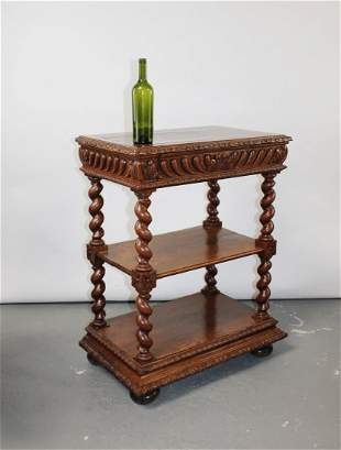 French tiered server in oak with barley twist columns