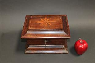French dresser box in rosewood with inlaid compass rose