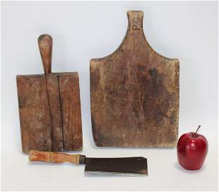 Group of 2 French cutting boards and 1 cleaver