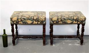Pair French Louis XIII style foot stools in walnut