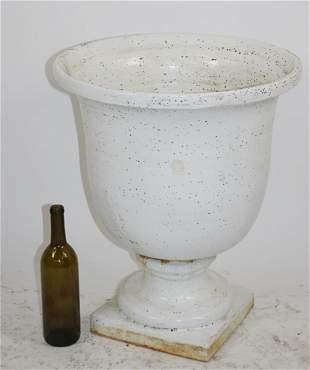 Italian glazed ceramic footed urn planter
