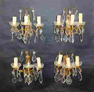 Lot of 4 French 3 arm wall sconces