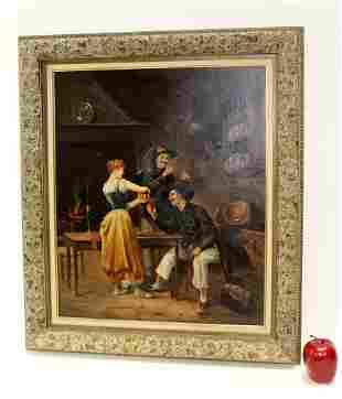 Oil on canvas Tavern scene painting