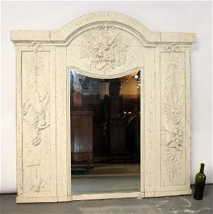 19th c French painted trumeau mirror