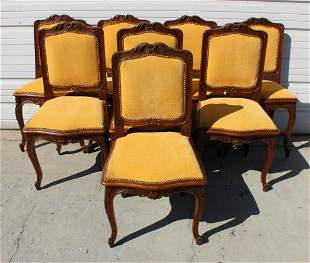 Set of 8 French Louis XV style dining chairs