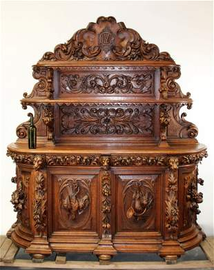 Exceptional French relief carved St Hubert buffet