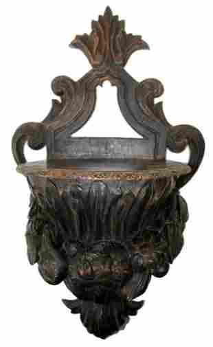 Late 18th century carved walnut wall shelf