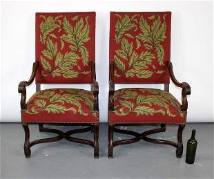 Pair of French Needlepoint upholstered armchairs