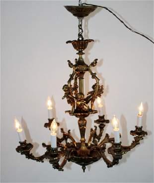 Continental bronze 5-arm chandelier with cherubs