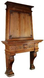 Grand scale French fireplace mantel with mansard hood