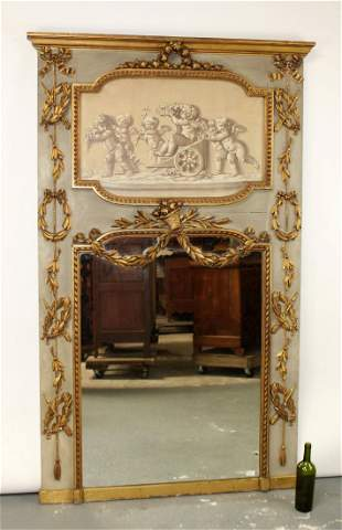 French Louis XVI trumeau mirror with cherubs