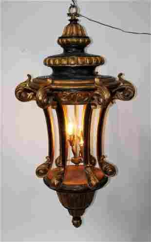 Grand scale Tuscan polychrome wood lantern