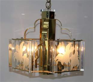 Fredrick Ramond brass and etched glass chandelier