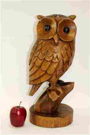 French Mid century carved owl sculpture