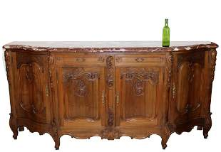 French Louis XV style walnut enfilade sideboard