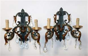 Pair French patinated iron sconces with acanthus