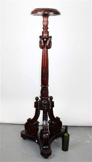 Louis XVI style carved mahogany plant stand