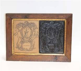 Antique French printers block - crest of Villacroze