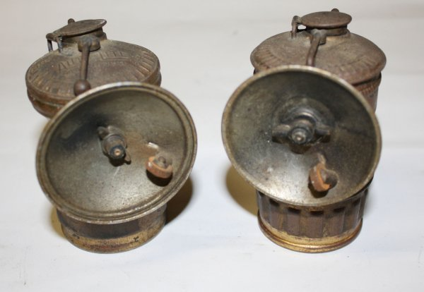 3: Pair of Antique Carbide brass lamps