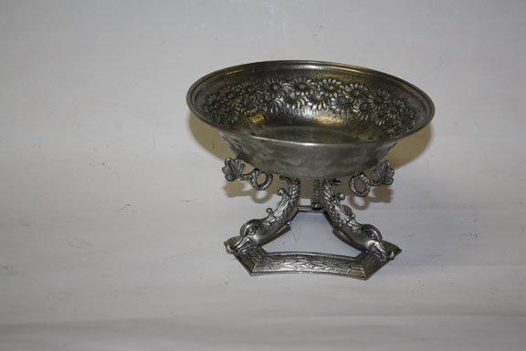 9: Pewter bowl on mythological dolphin base-Italian
