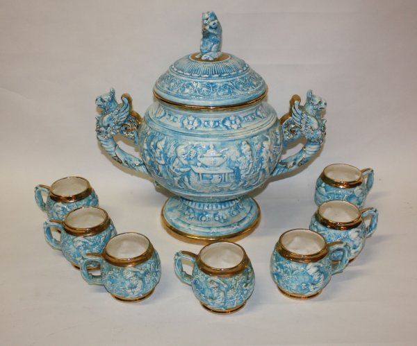 13: Glazed Bavarian punch bowl and 7 cups marked GZB