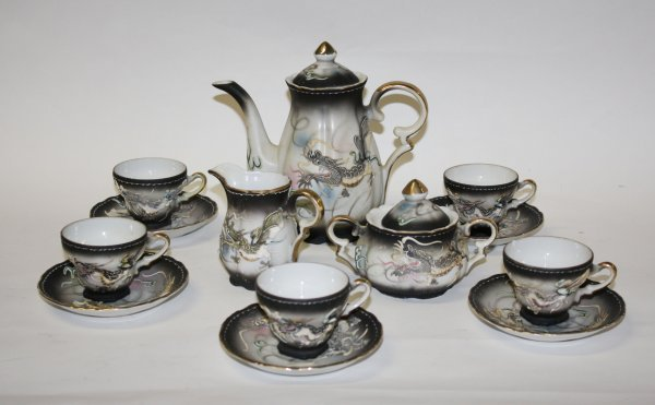15: Japanese 13pc teaset handpainted with raised dragon