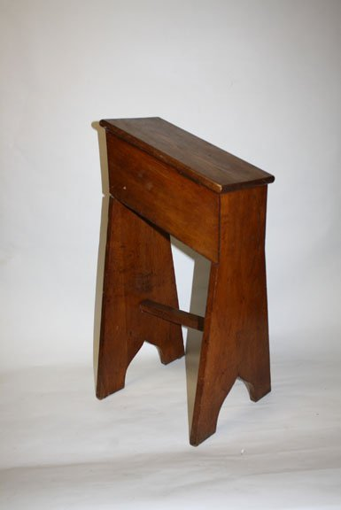 21: Antique French oak provincial shoe shine stand