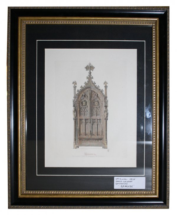 """23: 1835 hand colored engraving """"Armoire"""""""