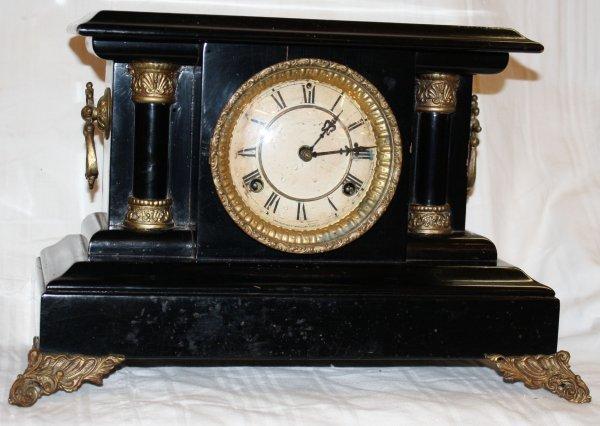 137: Waterbury clock co. mantle clock in classical case