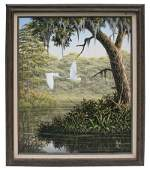 """188: Oil on canvas """"Snowy Egrets"""" signed BEN"""